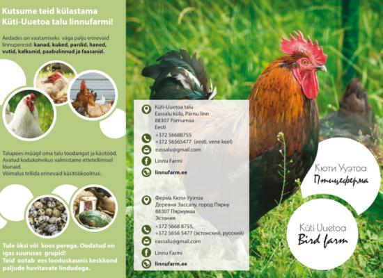 Tutvustav flaier. Pildil on kanad, haned, munad, käsitöö ning tutvustav tekst linnufarmist